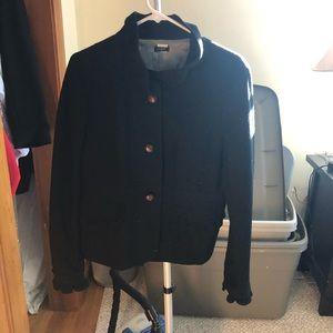 JCREW blazer black wool with brown buttons